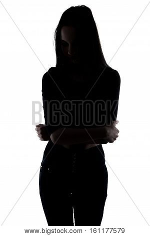 Silhouette slim woman with arms crossed on white background