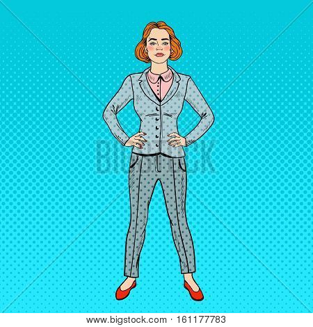 Pop Art Elegant Confident Successful Business Woman. Vector illustration