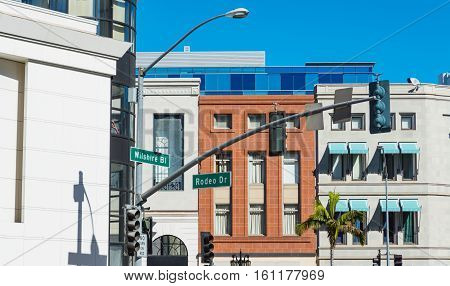 Wilshire blvd and Rodeo drive crossroad in Beverly Hills California