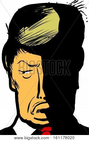 Dec. 12 2016. Caricature close up illustration of Donald Trump pouting