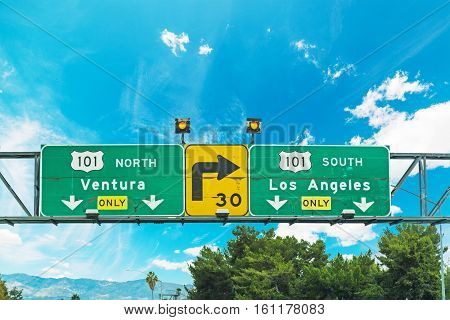 101 freeway crossroad sign in Los Angeles California