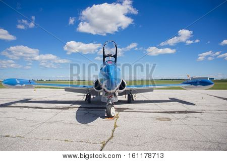 WINDSOR, CANADA - SEPT 10, 2016: JFront view of Jet Aircraft Museum (JAM) T-33 Silver Star Jet Trainer painted as the