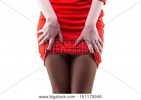 Flirting woman in red Jersey dress on white background