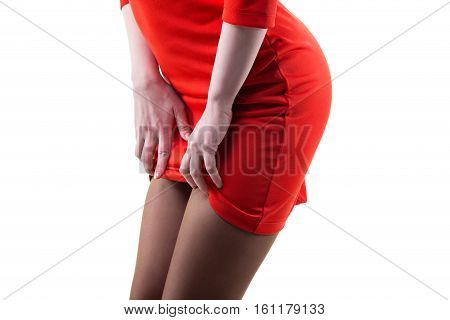 Flirting slim woman in red dress on white background