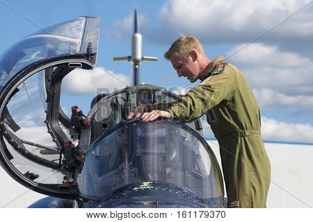 WINDSOR, CANADA - SEPT 10, 2016: View of canadian military Jet and pilot in exhibit at the Windsor Aviation Museum.