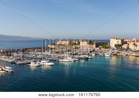 The harbour in Ajaccio on the island of Corsica with different boats in from the sea - no visible boat markings
