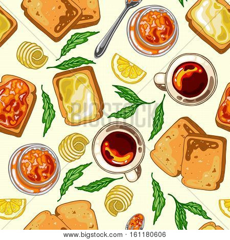 Seamless pattern with breakfast food: toast bread jam and butter vector illustration