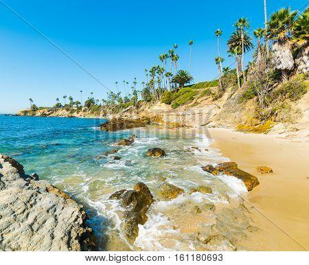 Laguna Beach shoreline in southern California, USA