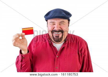 Gleeful Man Holding Up A Bank Card