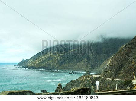Low clouds over Pacific Coast Highway California