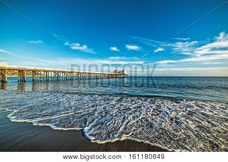 Malibu pier at sunset in southern California
