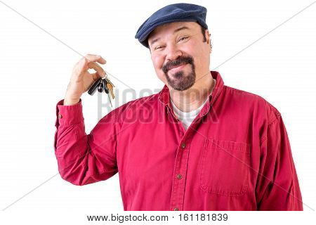Proud Privileged Man Holding A Bunch Of Car Keys