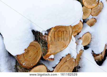 Snow covered woodpile close up. Harvesting wood in winter
