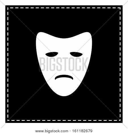 Tragedy Theatrical Masks. Black Patch On White Background. Isola
