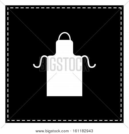 Apron Simple Sign. Black Patch On White Background. Isolated.