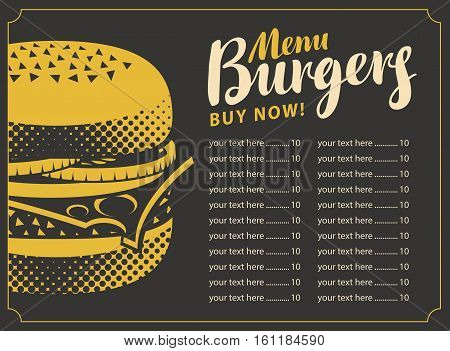price list menu for the restaurant fast food with burger on a black background in retro style
