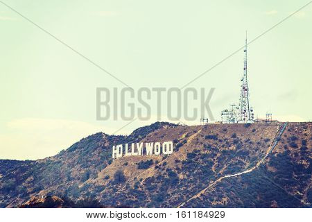 LOS ANGELES CALIFORNIA - OCTOBER 27 2016: Hollywood sign in vintage tone California