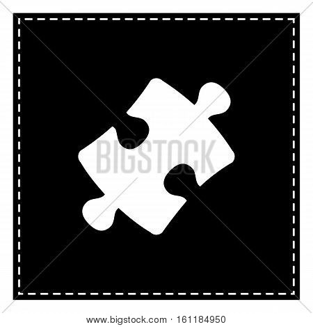 Puzzle Piece Sign. Black Patch On White Background. Isolated.