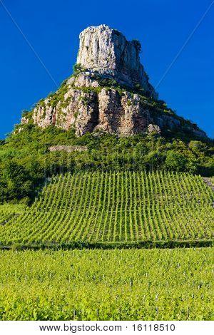 La Roche de Solute with vineyards, Burgundy, France