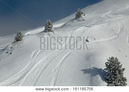 View of the ski slopes in mitsy weather