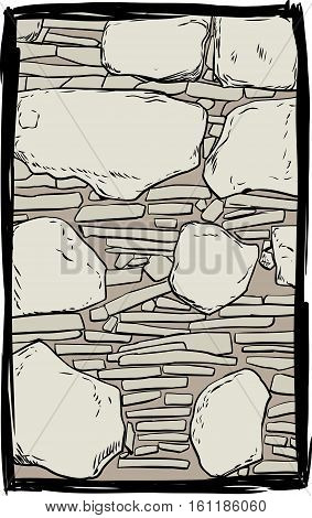 Old stone and dirt filled wall inside sketched frame