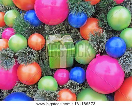 Multi-Colored Christmas Ornaments on a Christmas Tree.