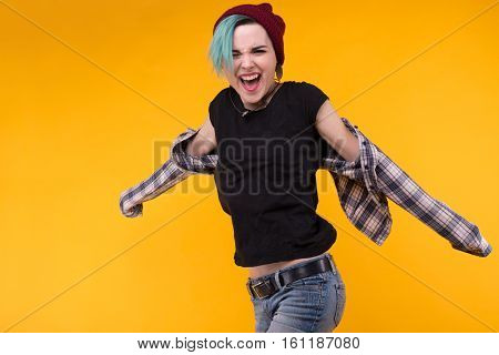 Jumping Emotional Bright Person