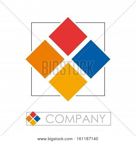 Vector sign colored quadrate, abstract flower, isolated illustration