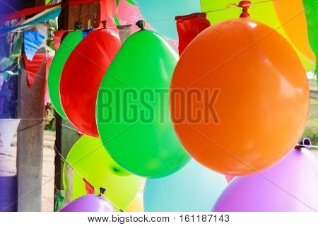 Time for party colorful balloon decoration for celebrating special occasion as Xmas New year Valentine Easter Thanksgiving and Birthday Party