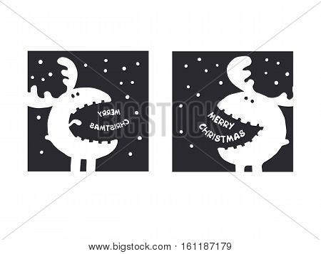 funny moose wishes Merry Christmas. Christmas wishes for an amazing holiday greeting cards. Hand drawn.