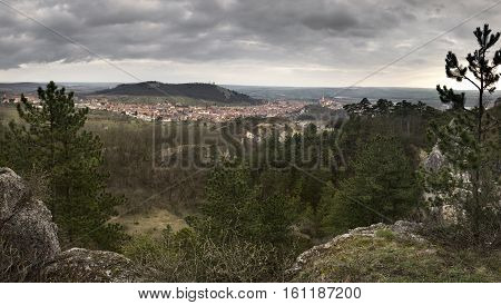 Panoramic view of Mikulov town with Holy hill and its surroundings from the Turold hill, Moravia, Czech republic