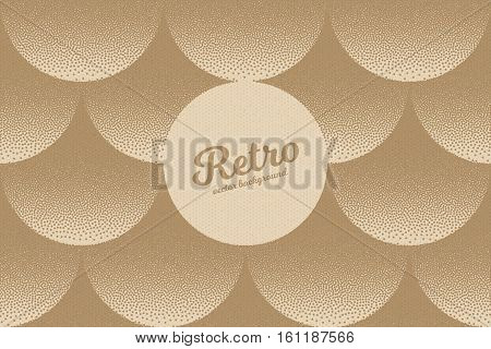 Vector hand made dotwork background in retro and vintage style. Abstract dotted stippling engraving. Artistic 3d illusion art illustration. Paper cardboard texture
