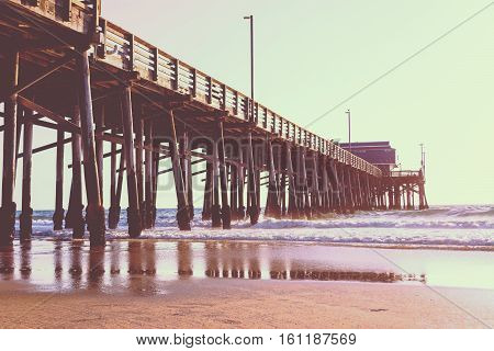 Newport Beach pier in vintage tone California