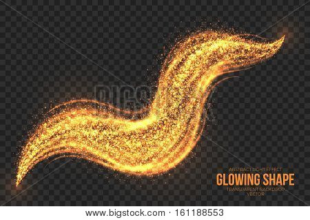Abstract bright golden shimmer glowing burning shape on transparent background vector illustration