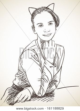 Young girl wearing Cat Ears headband on her head, Vector sketch, Hand drawn illustration