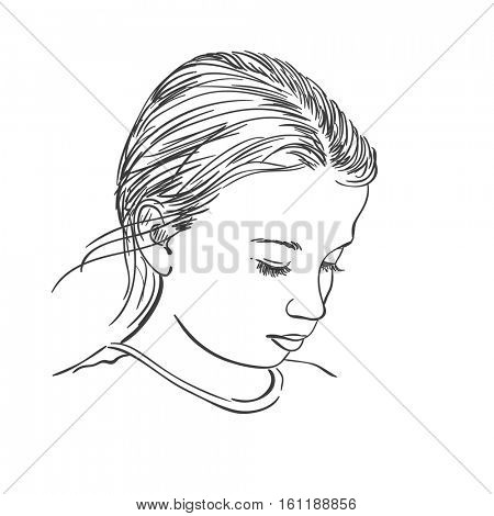 Head of beautiful young girl with downcast eyes, Vector sketch Hand drawn illustration