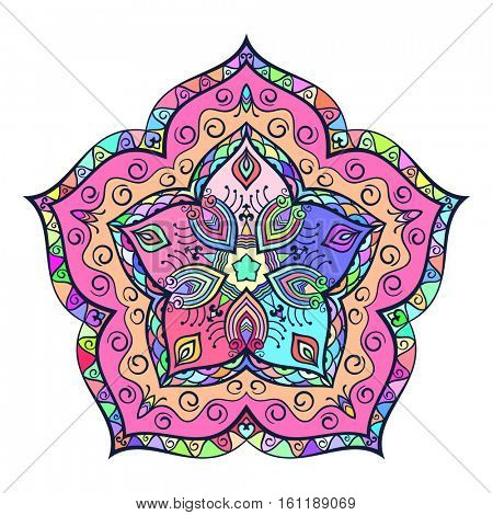 Round multicolored mandala, Isolated design element, Vector illustration