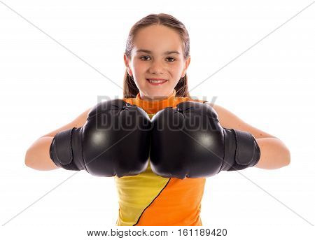 Young Boxer Girl On White Studio Background