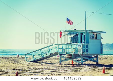 Lifeguard tower in Santa Monica in California