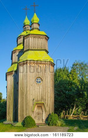 Old wooden Christian Church in the forest
