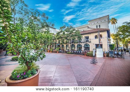 small square in downtown Santa Barbara California
