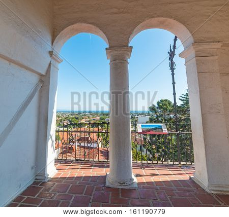 Arches in Santa Barbara courthouse in California