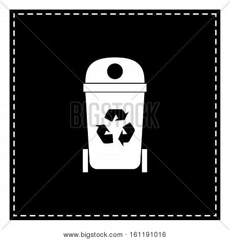 Trashcan Sign Illustration. Black Patch On White Background. Iso
