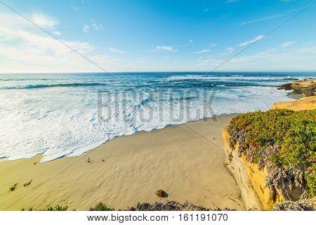 sand and rocks in La Jolla California