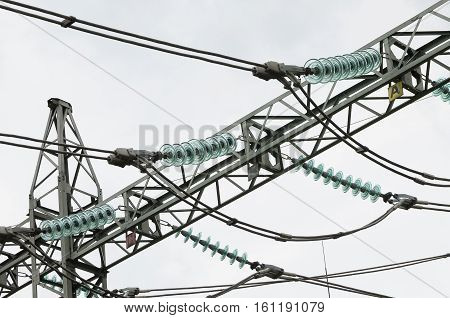 Electricity transport. Elements of electrical pylon - insulators, cables and fasteners.