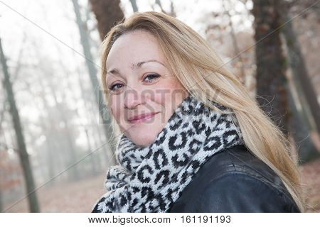 Blonde Woman Smiling On Autumn Parc, Lovely Pretty Happy