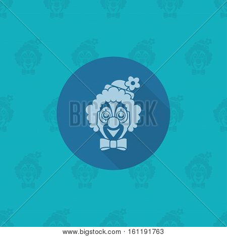 Happy Birthday Icon. Clown Face. Simple, Minimalistic and Flat Style. Monochrome color. Long Shadow. Vector