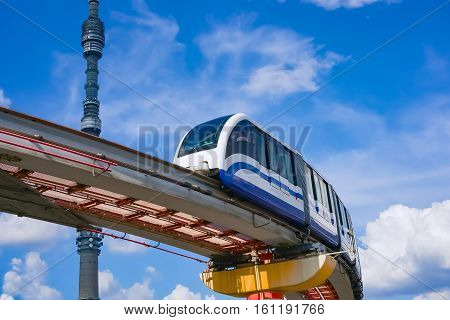 Moscow cityscape. TV tower Ostankino and monorail train Russia Europe