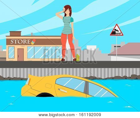 The girl went to the store to shop and forgot to put the car on the handbrake and the car slid into the water. Vector illustration