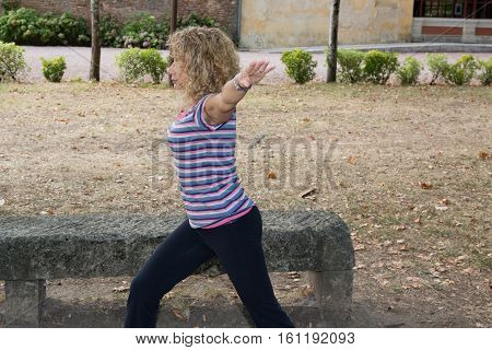 Caucasian Senior Woman Blonde Making Sport Outdoor After Running